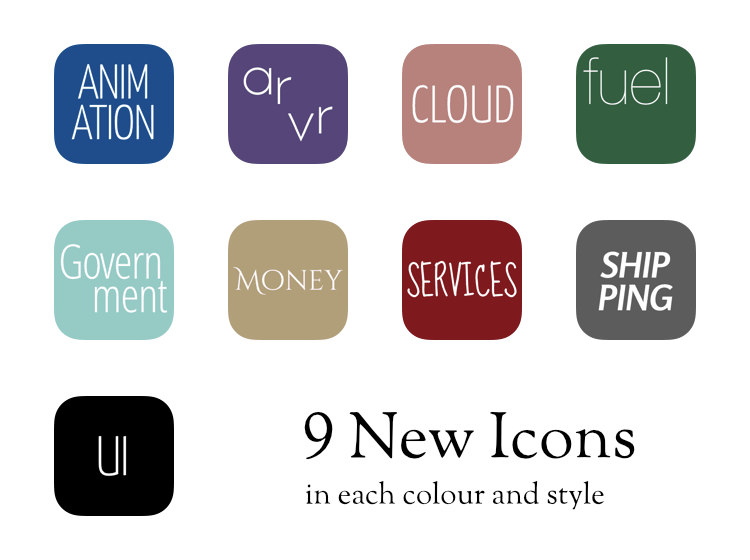 The 9 new icons in Mister Icon version 2.1