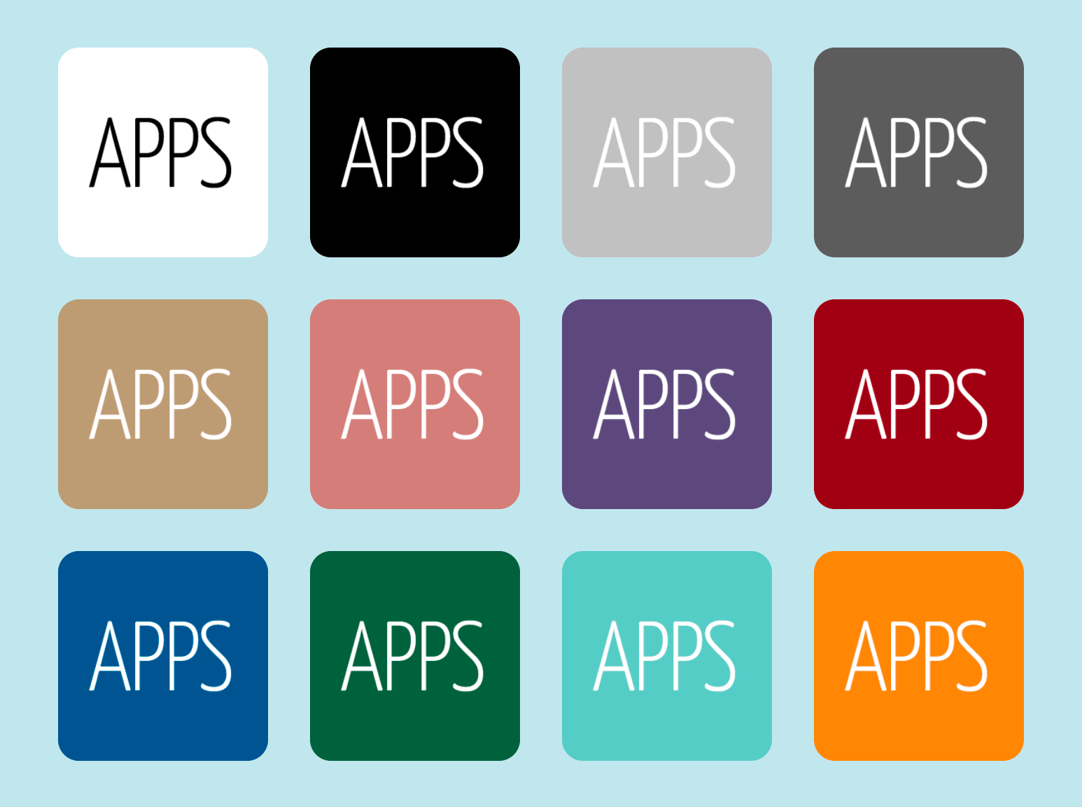 Colour variations in the Mister Icon app