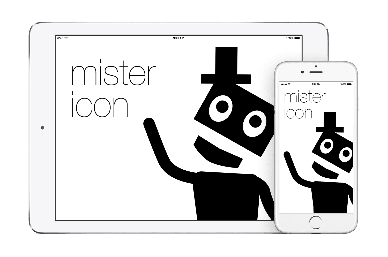 Mister Icon app running on iPhone 6 and iPad Air 2