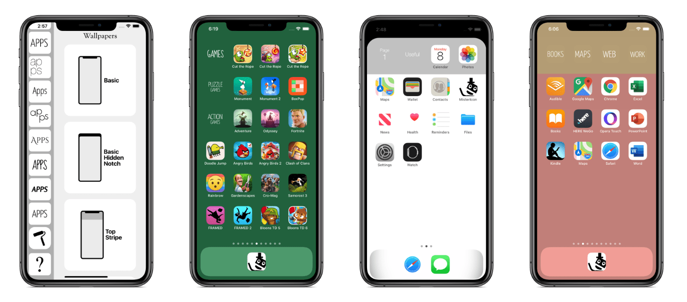 Mister Icon wallpaper samples on iPhone XS Max
